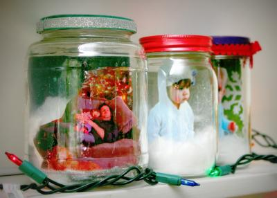 Picture Snow Globe made from a jar - 17 Eco-Friendly Arts and Crafts Projects