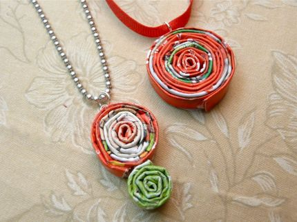 Magazine Coil Pendant Jewelry - 17 Eco-Friendly Arts and Crafts Projects