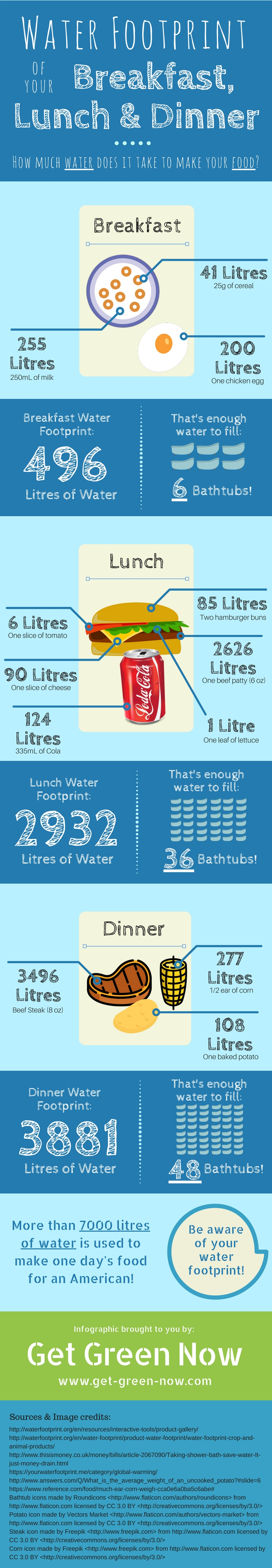 Water footprint of food infographic