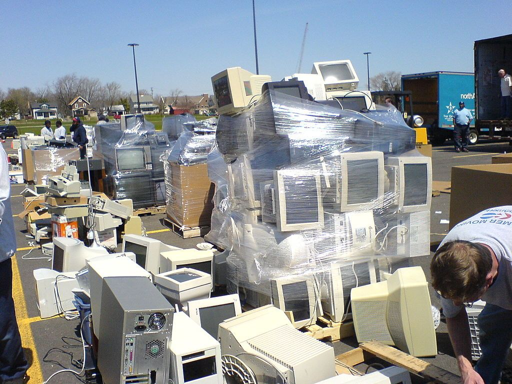 E-waste landfill filled with old computers