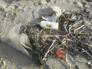 Trash on the beach breaking down into microplastics