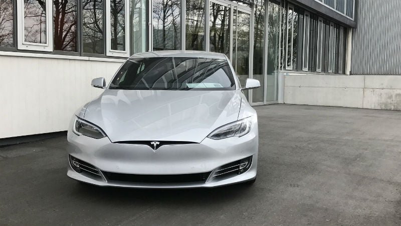 Image of a silver Tesla Model S electric car