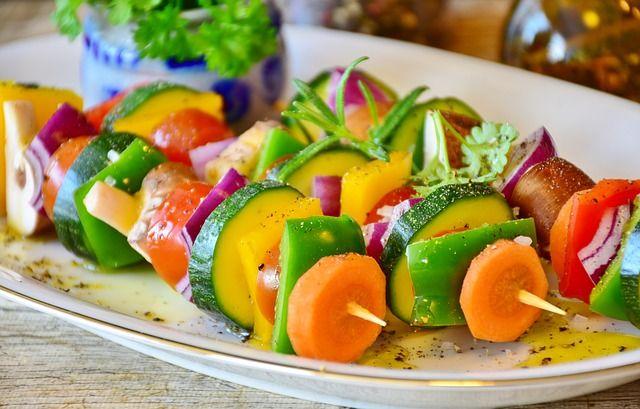 Vegan vegetable skewer on a plate