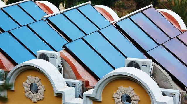Solar Thermal Panels on a Rooftop