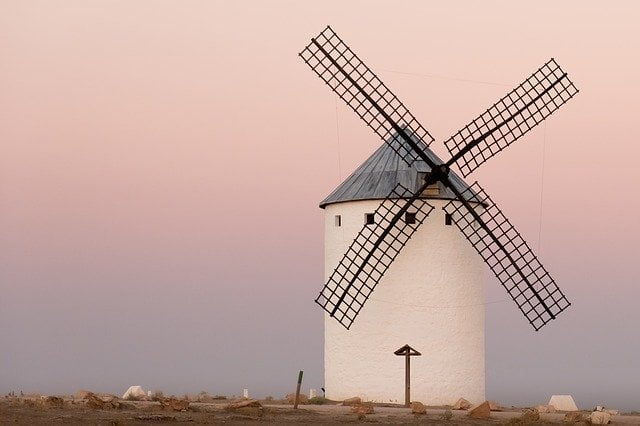 Image of a Windmill with a Sunset background